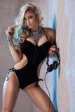 Blonde sexy dj posing. Stock Photos