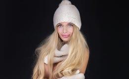 Blonde sexy Frau in der Kappe Stockbild
