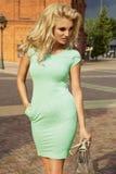 Blonde sexy Frauenaufstellung im Freien Stockfotografie