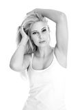 Blonde sexy girl - black and white photography Stock Images