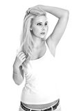 Blonde sexy girl - black and white photography Stock Photos