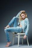 Blonde girl studio portrait shot Royalty Free Stock Photography