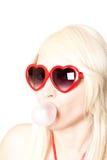 Blonde 'sexy' novo em vidros heart-shaped imagem de stock royalty free