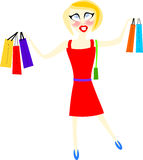 Blonde shopaholic. Young blonde girl with lots of shopping bags on a white background Stock Photo