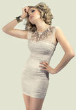 Blonde in a short dress Royalty Free Stock Photography
