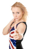 Blonde showing her index finger Royalty Free Stock Photography