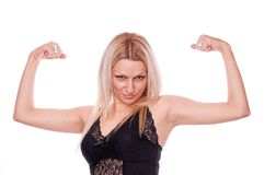 Blonde showing muscle Stock Photography