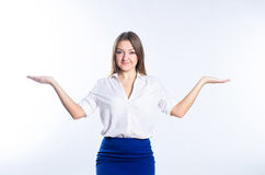 Blonde shows her hands scales Stock Photo