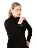 Blonde silence sign Stock Photo