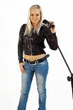 Blonde singer Stock Photography