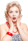 Blonde size plus model. Isolated portrait of surprised beautiful young blonde size plus woman model Stock Photo
