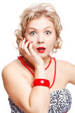 Blonde size plus model. Isolated portrait of shocked beautiful young blonde size plus woman model Royalty Free Stock Photos