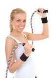 Blonde with skipping rope Stock Photos