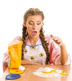 Blonde smashed egg Royalty Free Stock Images