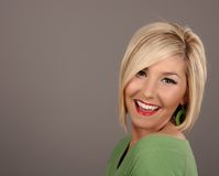 Blonde Smiling Earring Royalty Free Stock Photography