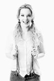Blonde smiling fashion model, high-key image Royalty Free Stock Images