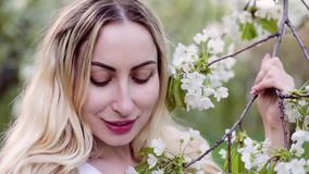 Blonde sniffs flowering trees in spring. stock footage