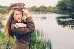 Blonde soldier Royalty Free Stock Photo
