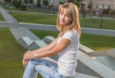 Blonde Sonnenparkwand Stockfotografie