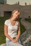Blonde Sonnenparkwand Stockfoto