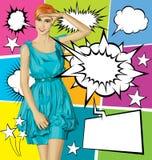 Blonde sorprendido vector en vestido azul con el sistema de la burbuja del discurso ilustración del vector