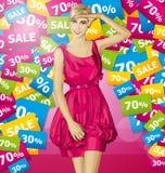 Blonde sorprendido vector en vestido rosado Imágenes de archivo libres de regalías