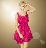 Blonde sorprendido vector en vestido rosado Imagen de archivo libre de regalías