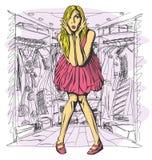 Blonde sorprendido vector en vestido rosado Fotos de archivo libres de regalías