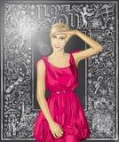 Blonde sorprendido vector en vestido rosado contra fondo del amor libre illustration