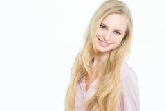 Blonde sorridente Immagini Stock