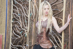 Blonde Steampunk Fashion Model Stock Image