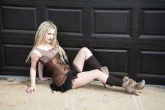 Blonde Steampunk Fashion Model Royalty Free Stock Photo