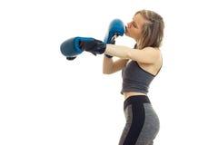 Blonde Stellung der schlanken jungen Eignung in einer grauen Sportklage und hält Hände in den Boxhandschuhen Lizenzfreie Stockbilder