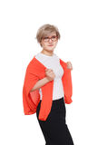 Blonde stilvolle Frau im Brillenporträt lokalisiert auf Weiß Stockfotos