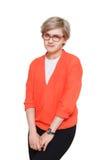 Blonde stilvolle Frau im Brillenporträt lokalisiert auf Weiß Stockbild