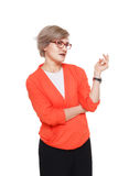 Blonde stilvolle Frau im Brillenporträt lokalisiert auf Weiß Stockbilder