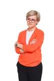 Blonde stilvolle Frau im Brillenporträt lokalisiert auf Weiß Lizenzfreie Stockfotografie