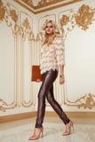 Blonde stilvolle Modekleidung der schönen sexy Frau Lizenzfreie Stockfotografie