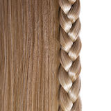 Blonde Straight Hair and Braid or Plait isolated. On white. Hair Care. Hair Salon Royalty Free Stock Photo