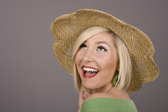 Blonde in Straw Hat Laughing Eyes Stock Photos
