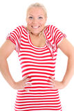 Blonde in striped dress Royalty Free Stock Image