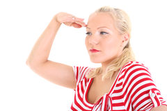Blonde in striped dress looking ahead Stock Photography
