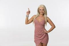 Blonde Studio Model. Blonde model posing in a studio environment royalty free stock photo