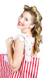 Blonde style girl with shopping bags on white Stock Photography