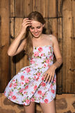 Blonde in a summer dress Royalty Free Stock Photo