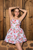 4d0db5a1e40 Blonde in a summer dress. Beautiful petite blonde in a short summer dress  Stock Photo