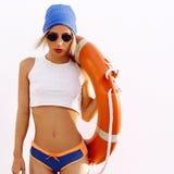 Blonde. Summer. Lifebuoy. fashion style royalty free stock image
