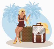 Blonde summer sexual travel girl. Vector illustration Stock Images