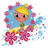 Blonde Surfer Girl. Tanned blonde surfer girl loves being between pink hibiscus Stock Images