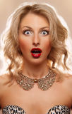 Blonde surprised. A surprised look of a beautiful blonde woman Stock Images